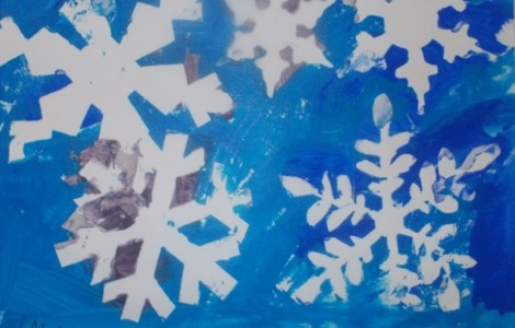 Capturing Snowflakes During Creative Painting Class